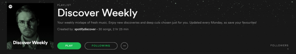 Discover Weekly in Spotify