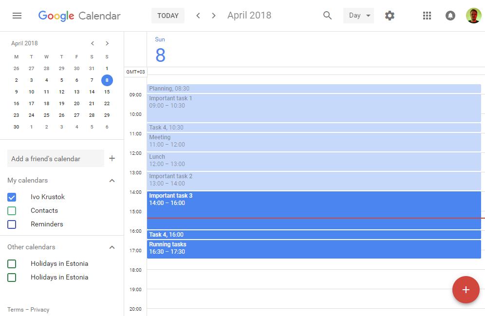 Time blocks in my calendar